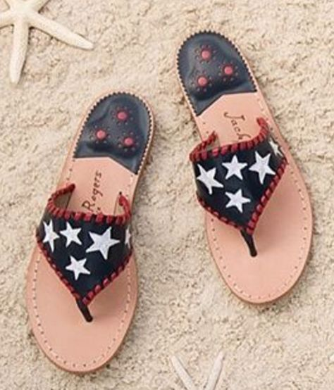 Love these patriotic Jack Rogers sandals