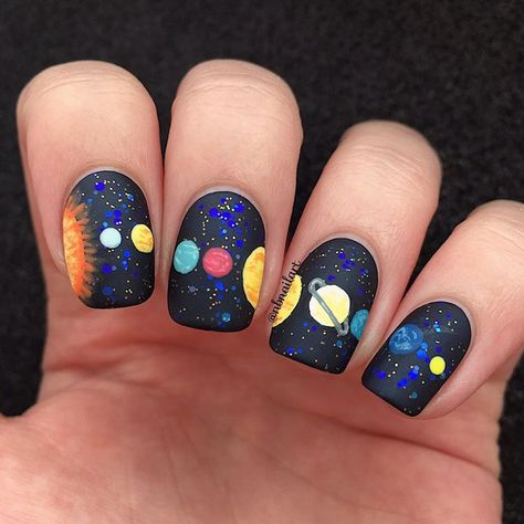 New to solar nails? Many people are which is why we've decided to give you all the details about solar nails, complete with design ideas! Best Acrylic Nails, Summer Acrylic Nails, Acrylic Nail Designs, Nail Art Designs, Nails Design, Cute Nail Art, Cute Nails, Pretty Nails, Planet Nails