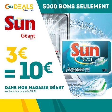 3 € ❤ Top #BonPlan - 3€ = 10€ sur tous les produits de la marque #SUN dans votre magasin #Géant ➡ https://ad.zanox.com/ppc/?28290640C84663587&ulp=[[http://www.cdiscount.com/corner/bon-de-reduction-code-promo/3eu-10eu-sur-tous-les-produits-de-la-marque-sun/f-1416501-sun03082016.html?refer=zanoxpb&cid=affil&cm_mmc=zanoxpb-_-userid]]