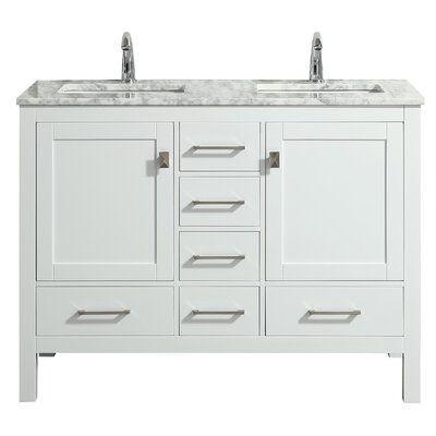 Eviva 48 Double Bathroom Vanity Base Finish White In 2020 Double Vanity Bathroom White Vanity Bathroom Bathroom Vanity