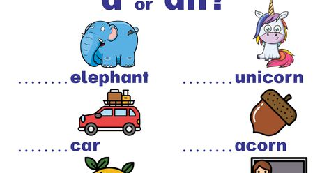 Indefinite Articles Worksheets: A or An?