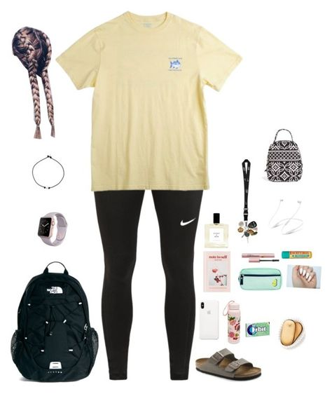 A fashion look from march 2018 by featuring nike, the north fa Cute Outfits With Leggings, Cute Lazy Outfits, Teenage Girl Outfits, Teen Fashion Outfits, Teenager Outfits, Simple Outfits, Look Fashion, Outfits For Teens, Cool Outfits
