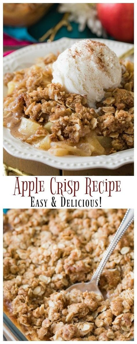 This is the best EASY APPLE CRISP! So simple to make and so good, everyone wanted this recipe! #applecrisp #applerecipe #fallrecipe #fallbaking