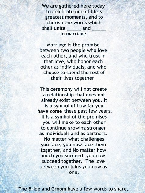 Wedding Officiant Speech.My Non Religious Short And Sweet Wedding Ceremony Script