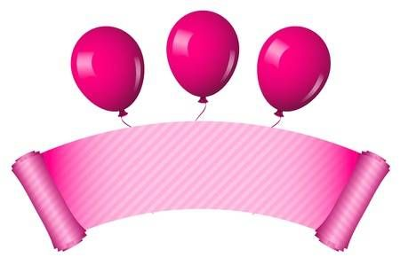 Vector Illustration Of Pink Scroll With Balloons Pink Balloons Balloons Free Clip Art