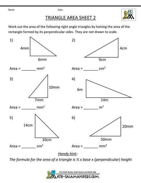 Area Of A Triangle Worksheets 7th Grade Triangle Area Sheet 2 Sheet 2 Answers Triangle Worksheet Area Worksheets Math Practice Worksheets