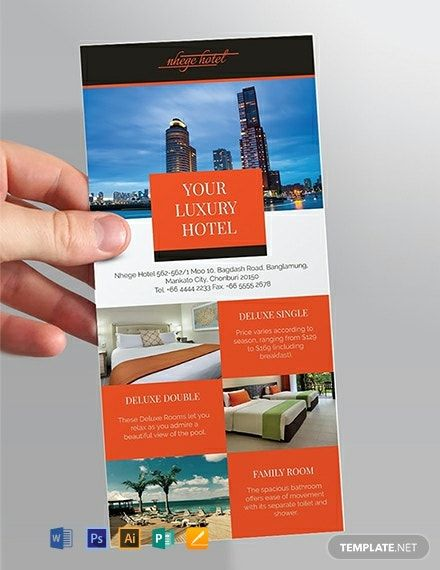 Hotel Rack Card Template Word Psd Apple Pages Illustrator Publisher Rack Card Templates Business Card Template Design Card Template