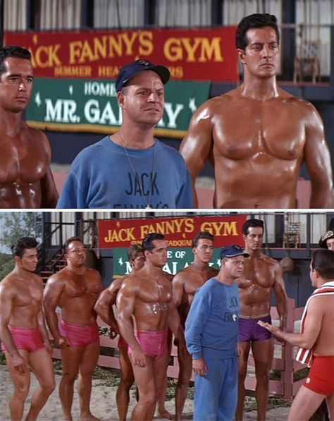 """Don Rickles as 'Jack Fanny' with """"The Muscles"""" in Muscle Beach Party (1964) — including Peter Lupus (billed as Rock Stevens) in his first film role (two years later he would be cast in TV's Mission: Impossible)."""