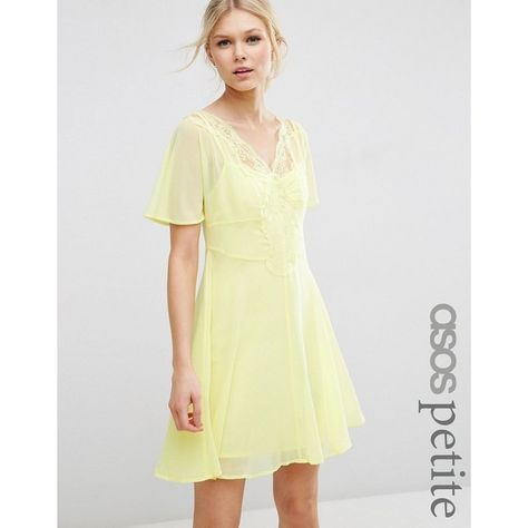 3e2dcf4699c0 ASOS PETITE Skater Dress with Lace Insert (£45) ❤ liked on Polyvore  featuring dresses, petite, pink, v-neck dresses, petite white dresses, petite  dresses, ...