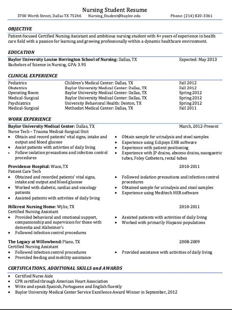 Certified Nursing Student Resume Sample -    resumesdesign - pca resume sample