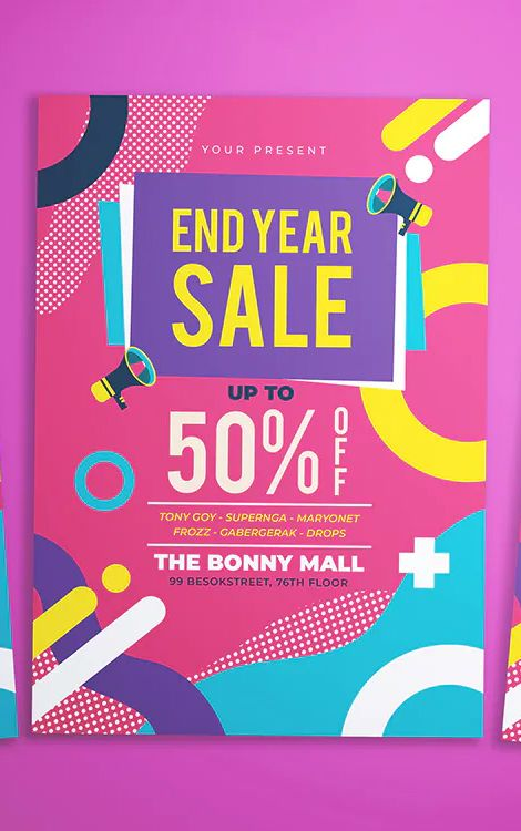 Memphis End Year Sale Flyer Template AI, PSD