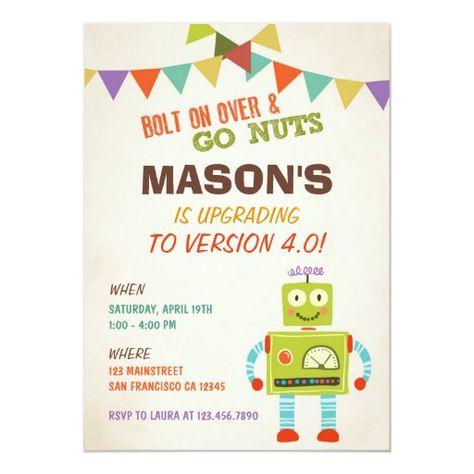 Fill In invitations Quantity of 10 Robots Theme Invitations