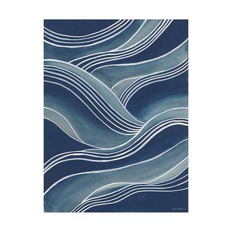 """Wind & Waves III 35"""" X 47"""" Canvas Wall Art Blue"""