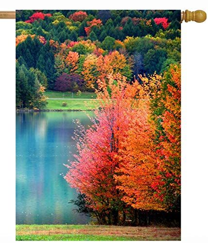 Pickako Scenic Autumn Landscape Colorful Trees Lake River Pond In Forest House Flag 28 X 40 Inc In 2020 Autumn Landscape Beautiful Nature Pictures Beautiful Landscapes