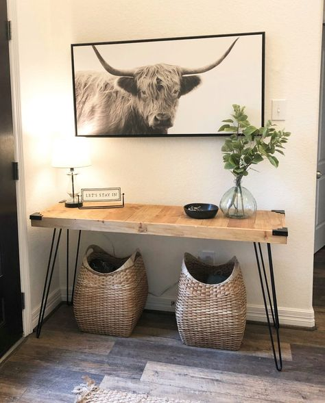 Shanty's Tutorials DIY Hairpin Console Table - Shanty 2 Chic Landscapes Of England: Brean As a child Diy Furniture Projects, Handmade Furniture, Furniture Plans, Furniture Makeover, Diy Furniture Industrial, Modern Wood Furniture, Diy Home Furniture, Outdoor Furniture, Deco Studio