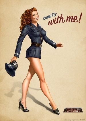 Okay, I definitely want a cake with this Air Force image on it but made to look like me!  I love the pin up concept!