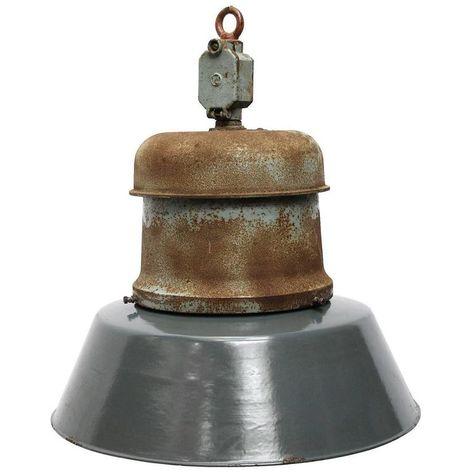 "1 Vintage Industrial 12/"" Holophane Pendant Light Old Factory Steampunk 573-16"