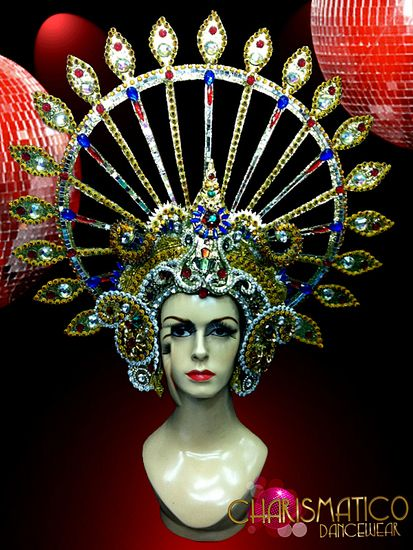 CHARISMATICO Royal Diva/'s white feather accented silver crystal Queen headdress