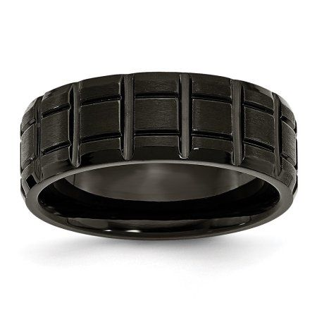 Titanium Notched Black Ip-plated 8mm Brushed And Polished Band Box