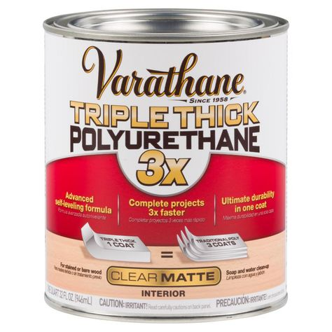 Varathane 1 Qt Matte Triple Thick Polyurethane 316162 With Images Varathane Modern Farmhouse Diy Varathane Wood Stain
