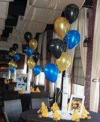 Black Blue And Gold Is An Elegant Color Theme For Balloon Centerpieces