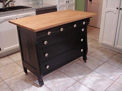 Dresser Turned Into Kitchen Island U003d Extra Storage | Kitchen | Pinterest |  Dresser, Extra Storage And Butcher Blocks