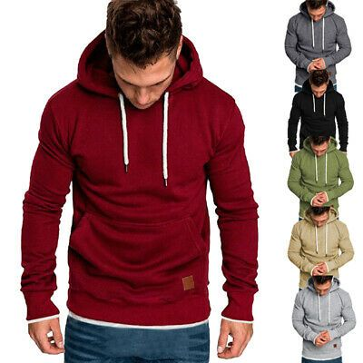 Men Winter Hoodie Hooded Jacket Coat Sweatshirt Sweater Pullover Zip Up Outwear