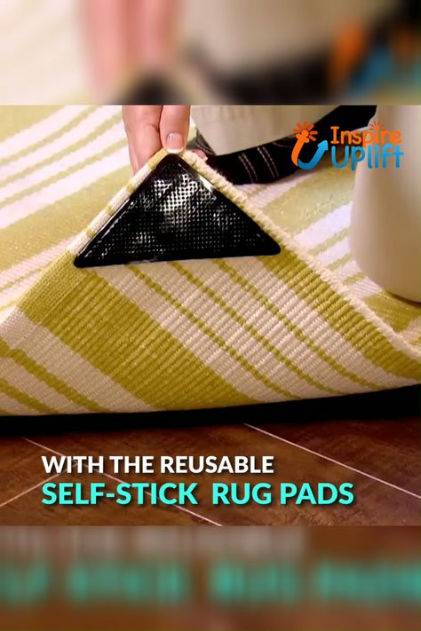 Self-Stick Rug Pads 😍  These reusable Self-Stick Rug Pads prevent rugs or carpets placed on hard floors and tiles from slipping or sliding and they  also prevent bunching, curling and tripping. They're so EASY to use, just place one on each corner of your rug! Avoid accidents and keep your rugs right where you want them!  Currently 50% OFF with FREE Shipping!