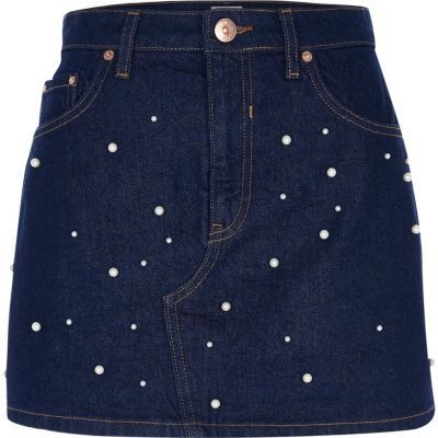 Embellished Pearl Denim Skirt from River Island