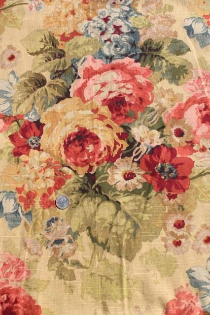 Vintage Roses Print Curtains Fabric Lot Waverly Norfolk Rose Shabby Chic Romantic Florals Sh Vintage Floral Fabric Shabby Chic Flowers Shabby Chic Bedrooms