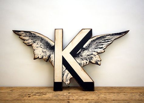 Cherub Wing Letter K Vintage Inspired   Wood Wall by EdiesLab, $35.00