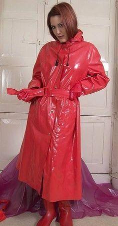 Two girls in red pvc macs | Rainwair | Pinterest | Macs, Raincoat ...