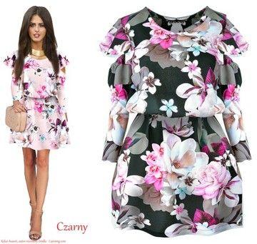 Romantyczna Sukienka Kwiaty Odkryte Ramiona 7347846249 Oficjalne Archiwum Allegro