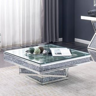 Furniture Of America Aarika Mirrored Coffee Table Living Room