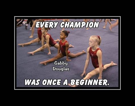 Gymnastics Motivation Poster Gabby Douglas Champion Gymnast Photo Quote Wall Art Every Champion Was Once A Beginner -Free Ship