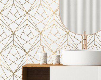Annistudioshop On Etsy Geometric Removable Wallpaper Removable Wallpaper Wall Wallpaper