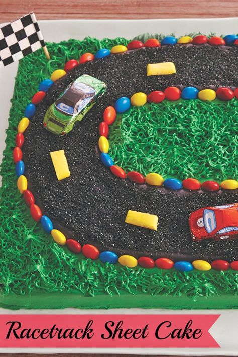 Have some racing fans in the family? Whip up this surprisingly simply cake with frosting grass and racetrack, perfect for a race-watching party or your favorite car lover's birthday. The cars are even made of chocolate—how cute is t Hot Wheels Birthday, Race Car Birthday, Cars Birthday Parties, Birthday Fun, Cake Birthday, Birthday Cakes For Boys, Birthday Ideas, Race Track Cake, Race Car Cakes