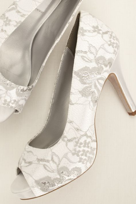 Winter Dyeable Metallic Lace Wedding Pump From David S Bridal