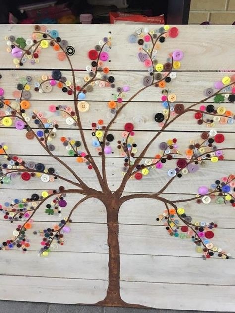 If you are looking for Diy Pallet Wall Art Ideas, You come to the right place. Here are the Diy Pallet Wall Art Ideas. This article about Diy Pallet Wall Art Ide. Button Tree Art, Button Wall Art, Button Art On Canvas, Art Mural Palette, Succulent Wall Art, Plant Wall, Diy Pallet Wall, Pallet Walls, Wood Pallets