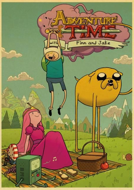 1.41US $ 15% OFF|Adventure Time with Finn and Jake Cartoon Retro Posters Kraft Paper Printed Room Wall Decor Good Quality Posters|Painting & Calligraphy|   - AliExpress
