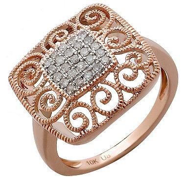 10k Gold Two Tone Diamond Filigree Ring Rose Gold Trends Rose Gold Jewelry Filigree Ring