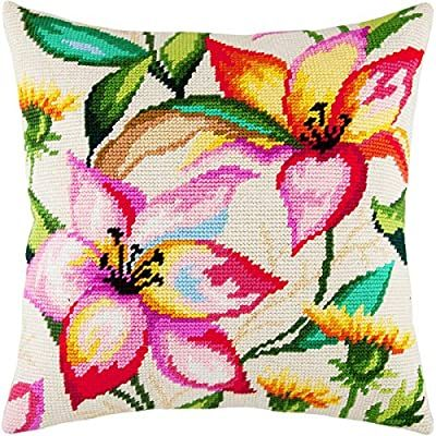 Needlepoint Kit White Lilies Throw Pillow 16/×16 Inches Printed Tapestry Canvas European Quality