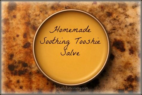 Soothing Tooshie Salve - Beeswax – 1 oz, Cocoa Butter – 1 oz, Avocado Oil – 2 oz, Coconut Oil – 3 oz, Vitamin E – 1-2 t, 10 drops EOs - tea tree & lavender