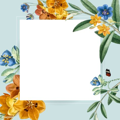 Floral square frame design vector | premium image by rawpixel.com / Toon