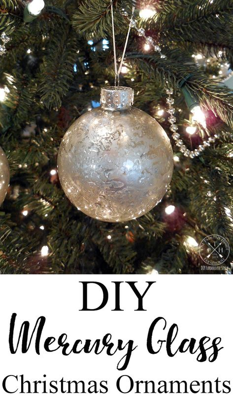 Do you love merucy glass ornaments but don't love their price tag? Try my DIY mercury glass Christmas ornaments tutorial and make your own for a lot less! Silver Christmas Decorations, Glass Christmas Tree Ornaments, Christmas Bulbs, Christmas Ideas, Handmade Ornaments, Frugal Christmas, Clear Ornaments, Christmas Labels, Christmas Projects