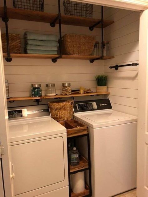 30 Brilliant Small Laundry Room Decorating Ideas To Inspire You. Brilliant Small Laundry Room Decorating Ideas To Inspire You Its one of the most used rooms in the house but it never gets a makeover. What room is it? Small Laundry Rooms, Laundry Room Organization, Laundry Room Design, Laundry In Bathroom, Laundry In Closet, Laundry Closet Makeover, Laundry Room Ideas Garage, Laundry Room Shelving, Organization Ideas
