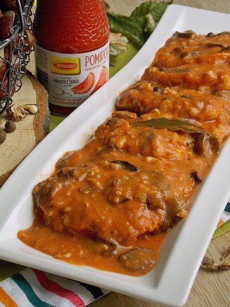 Schab Z Grzybami W Sosie Pomidorowym Obiad Przepisy Pyszne