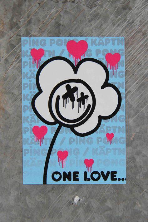 One Love Sticker Street Art By Ping Pong X Käptn Street