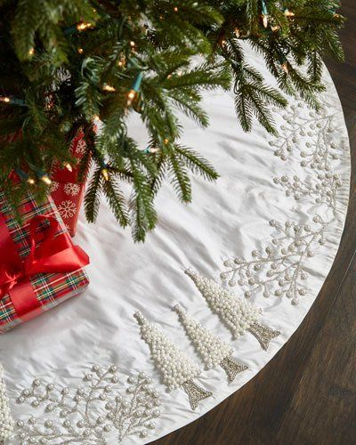 White Silver Collection Tree Skirt Christmas Tree Skirt Xmas Tree Skirts Luxury Christmas Tree