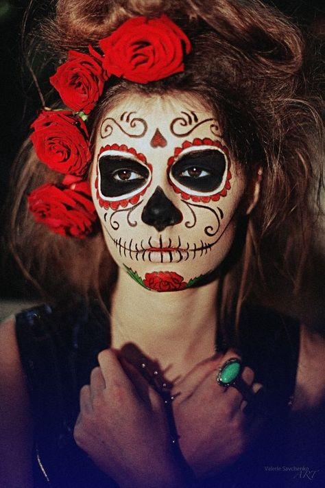 maquillage mexican skull rouge noir tête de mort mexicaine